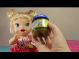 Куклы Пупсики Покупки для Беби Элайв (Baby Alive) Аня Открывает Киндеры Маша и Медведь, Смешарики