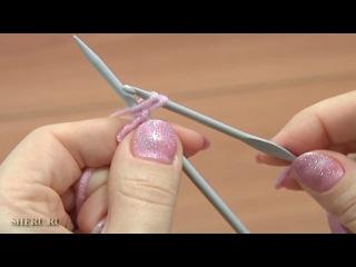 Вязание для начинающих спицами Урок 1 метод 13 из 18 Набор петель с крючком