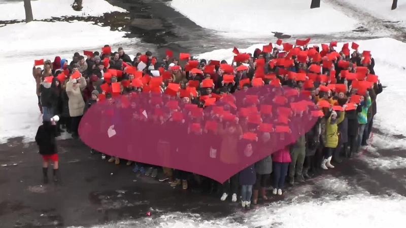 Флешмоб живое сердце в любимом колледже им Н Н Годовикова 12 02 2015 год