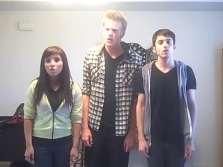 Trio singing  Telephone  by Lady Gaga