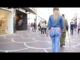 Naked Girl With Nice Ass Wearing Just A Thong And Body Painted Jeans Walks Down Busy Street