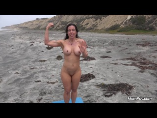 Mompov.com: gretchen - fit milf does yoga at nude beach (2014) hd