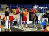 Tian Tao (85kg, China) 255kg x2 Squat Almaty 2014 Worlds Training Hall