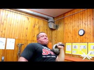 Жим царского трехпудовика одной рукой(Видео из группы Силачи Старой Школы)