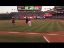 Gronk throws first pitch to Mike Trout