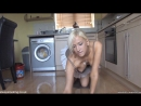 Blonde mops the floor and gives a great down blouse peep