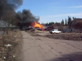 сгорела столярка в Белогорке
