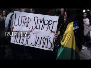 Бразилия: Про-Дилма столкновения демонстрантов с полицией во время митинга в Сан-Паулу.