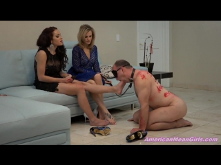 Goddess Nikkole and Princess Carmela foot worship trampling smelling fetish feet smother slave licking gagging femdom sucking