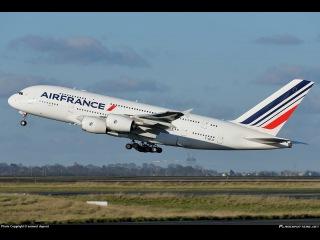 Взлёт Аэробус A380-800 (авиакомпания Air France)