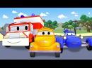 Эвакуатор Том и Такси, Вертолет, Синяя гоночная машина, Кран, Бульдозер мультик ...