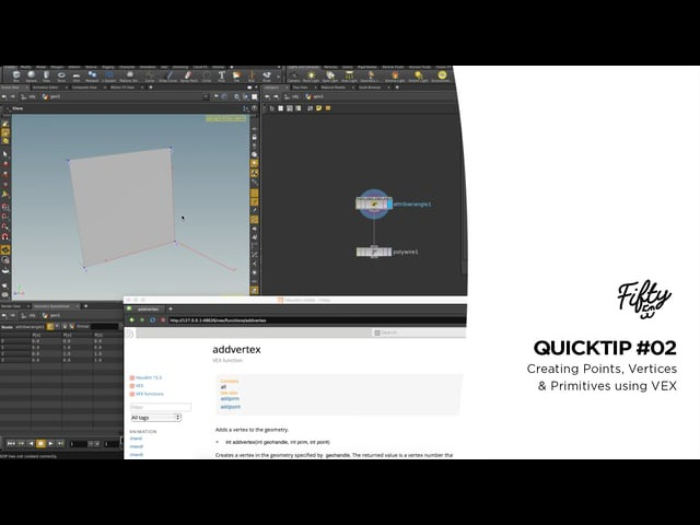 Houdini Quicktip 02 - Creating Points, Vertices Primitives using VEX