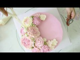 How to make and decorate a buttercream flowers cake - part 2  H