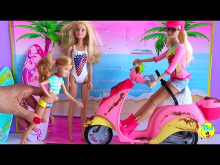 Barbie Girl prank Barbie doll muddy puddles for Chelsea Puppy Park on the Play ground for Kids