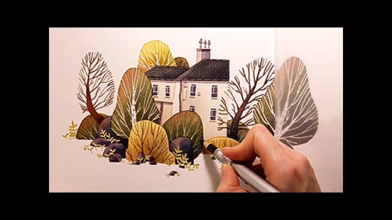 Watercolor Illustration House with garden with colored pencils speed painting by Iraville