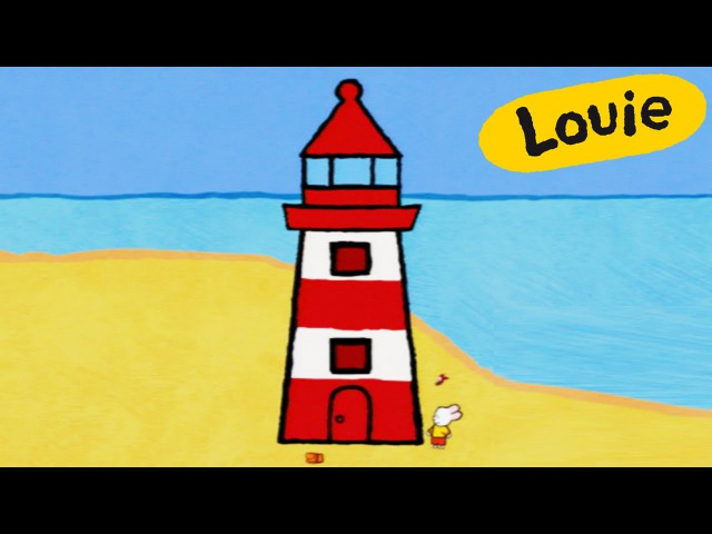 Louie, draw me a lighthouse | Learn to draw cartoon for kids