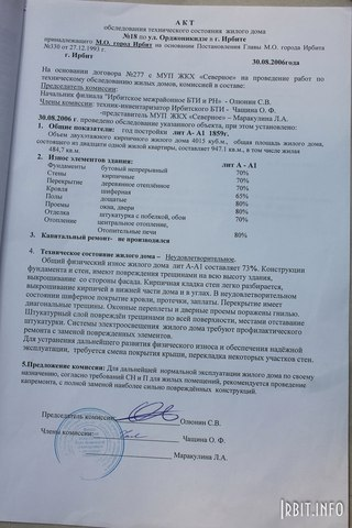 Акт обследования технического состояния. Ирбит, ул. Орджоникидзе, 18