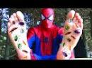 Spiderman's GROSS FEET! w/ Frozen Elsa Maleficent Joker Pink Spidergirl Candy! Funny Superhero Video