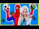 Spiderman FootBall w/ Frozen Elsa GROSS FEET Funny Superheroes in Real Life