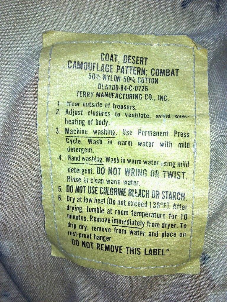 "Desert uniforms (DCU) - DESERT 6 colors ""Chocolate chip""  dated 1984 8NGoPPuPArc"