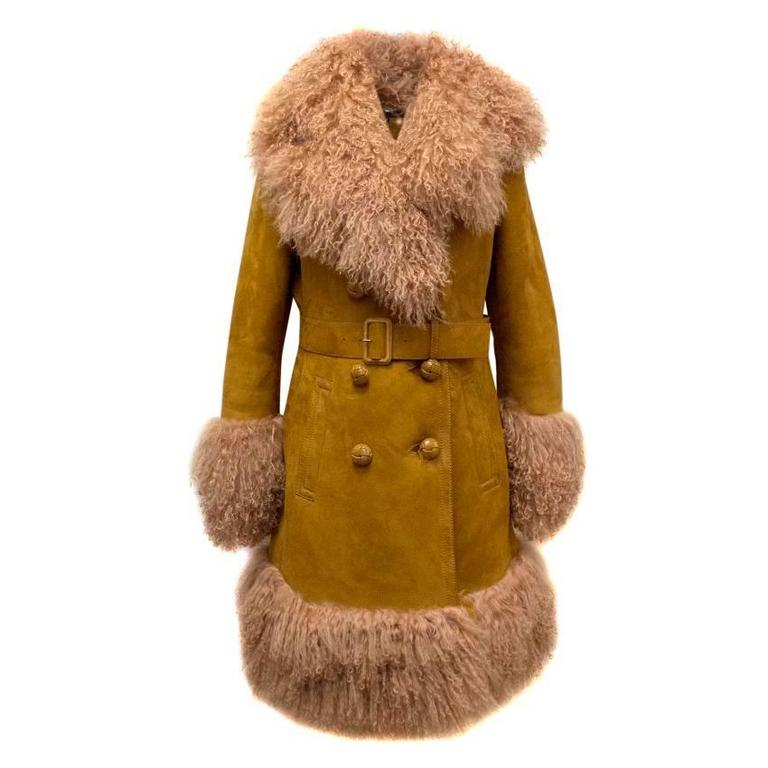 Gucci Tan Shearling And Suede Belted Coat, Дубленка Gucci