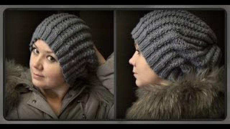 осенне - зимняя женская шапка, вязание спицами