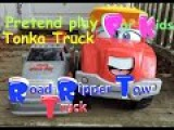 Pretend play for kids #Tonka dump truck broke down, get towed w Road Ripper tow Truck