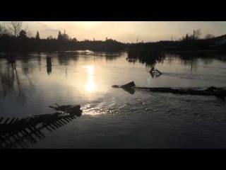 Потоп в поселке Сагра. Речка Черная разлилась более, чем на сотню метров