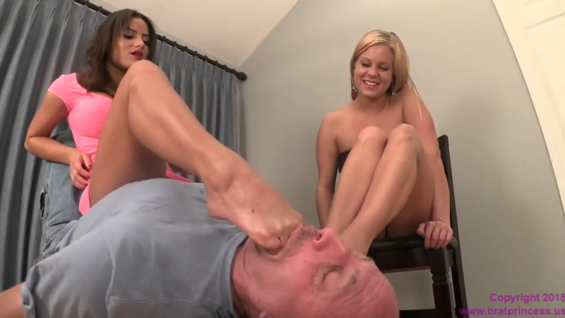 Annabelle and Chichi Humilate a foot freak worship trampling fetish smother domination trample licking