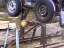 самодельная ленточная пилорама на автоколесах с двигателем Ваз
