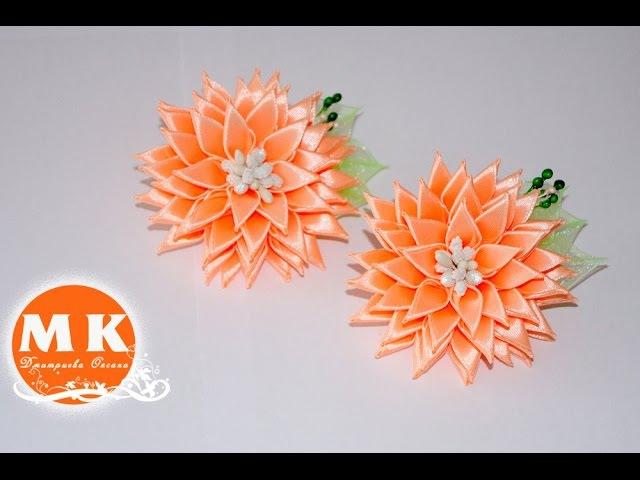 Мастер-класс Канзаши.Резинки для волос Астры. Цветы из лент.ScrunchyThe flowers of satin ribbons