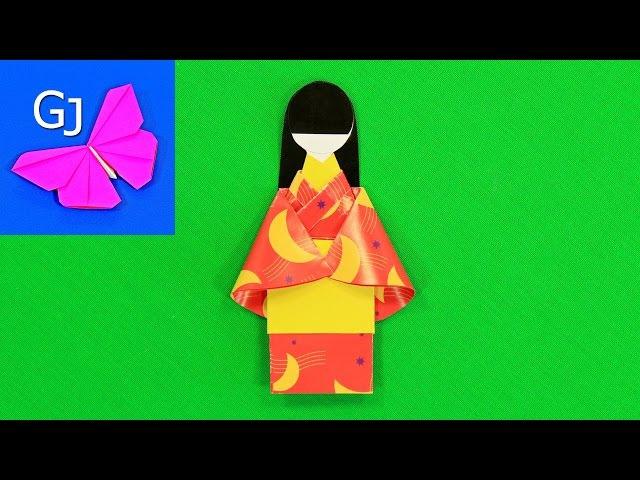 Оригами ЯПОНСКАЯ КУКЛА из бумаги