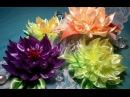 Ribbon flowers dahlia Flores de cintas dalia Цветы из лент георгин МК