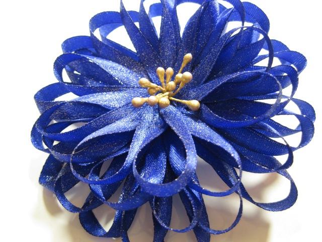 Канзаши,Атласная лента МК для начинающих Синий бант. flor kanzashi
