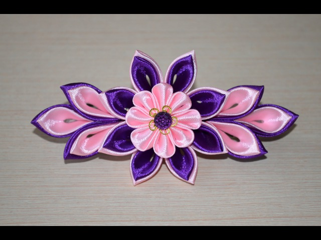 Заколка канзаши Мастер класс заколки своими руками DIY handmade Clip flower ribbon
