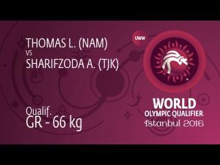 Qual. GR - 66 kg: A. SHARIFZODA (TJK) df. L. THOMAS (NAM) by TF, 8-0