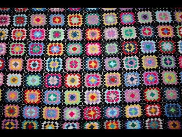 Одеяло бабушкин квадрат. Мотивы крючком.Часть 1- вяжем мотив. Afgan blanket. Easy pattern.
