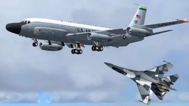 Лишь бы не нарваться на русских! Пилоты ВВС США прячутся за гражданскими самолет...