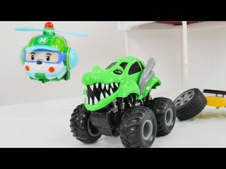 Canavar kamyonlar ve Robocar Helly. Canavar kamyonu kurtarma.