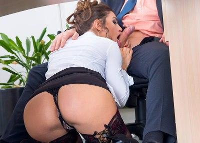 Has Her Hairy Pussy Pounded in the Office