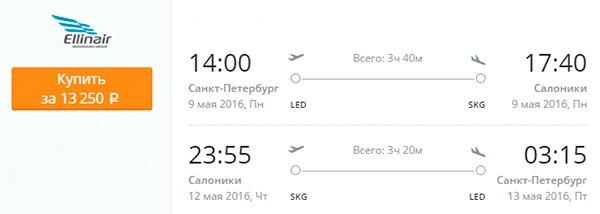 Дешевые авиабилеты Санкт-Петербург-Салоники
