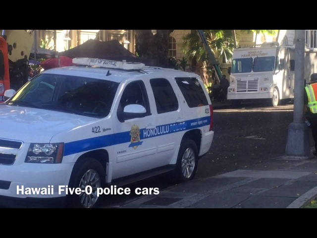 Hawaii Five-0 Set Hawaii 08/17/16 - HONOLULU, McGarrett Grover on Hawaii 5-0 film set Hawaii