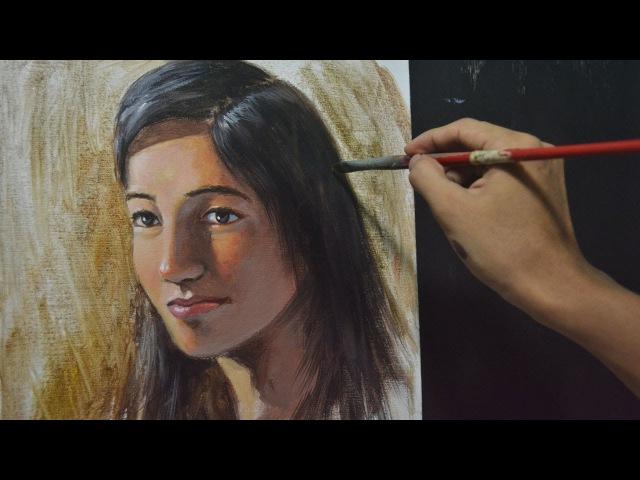 Acrylic Painting Lesson - Portrait of a Woman by JMLisondra