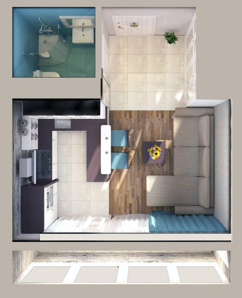 Проект студии 20,3 м от застройщика Проспектстрой, Краснодар.