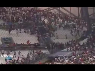 Russian Hooligans attack England Hooligans in Marseille after the game