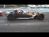 V16  2 V8's Hot rod smokin tire leaving sema show 09
