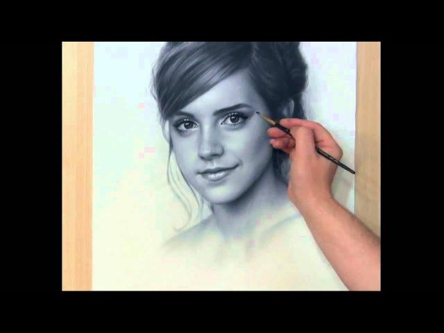 Speed Drawing Portrait Emma Watson Рисование портрета Сухая кисть
