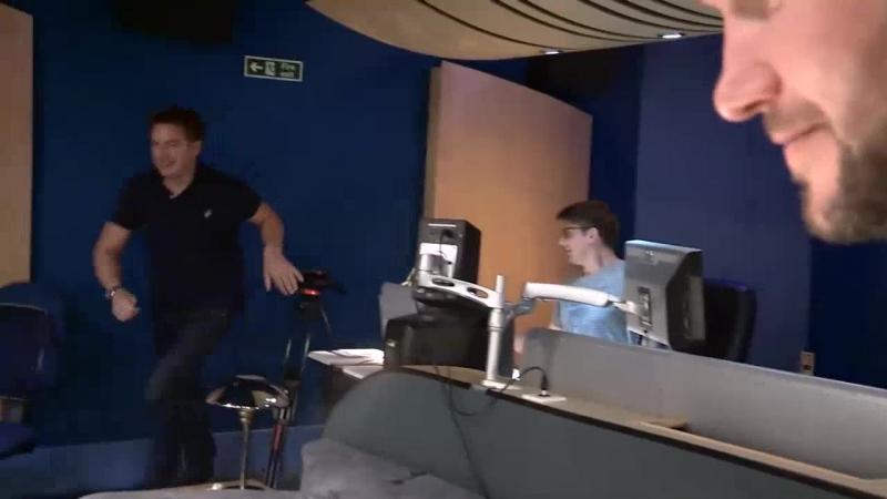 Gareth David-Lloyd, John Barrowman and Scott Handcock recording The Torchwood Archive