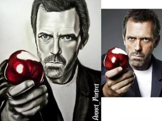 Портрет Хью Лори (Доктор Хаус) углём от Annet_Portret. Drawing Portrait Hugh Laurie (Dr. House)