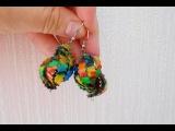 Серьги-ракушки Кружевная мозаика из полимерной глины